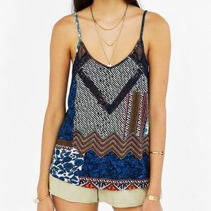 Printed lace insert tank top